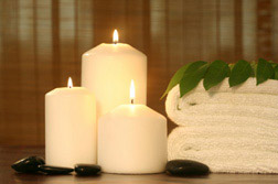 relaxing candles soft towels